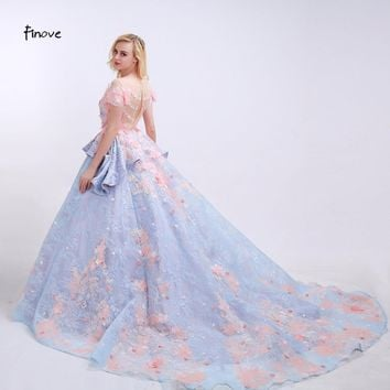 Finove Flowers Prom Dresses See-Through O-Neck 2017 News Pink Appliques Floor Length Chapel Train Lace Party Gowns for Women