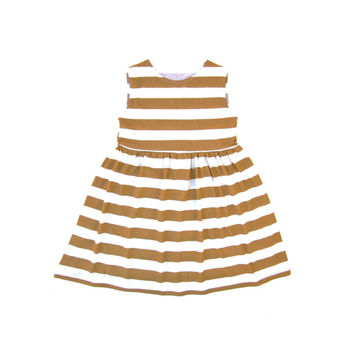 Stripe Dress, Mustard Stripe Dress, Baby Dress, Child Dress, Toddler Dress, Kid Dress, Sizes Infant to Size 7