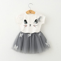 Cute Kids Girls Baby 2 Piece Casual T-shirt Tops Floral Tutu Dress Suit Outfit