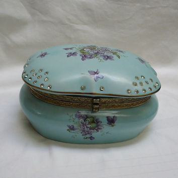 Norcrest aqua & violets rhinestone large porcelain fancy jewelry box 1960s Japan
