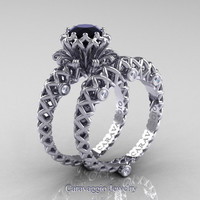 Caravaggio Lace 14K White Gold 1.0 Ct Black and White Diamond Engagement Ring Wedding Band Set R634S-14KWGDBD