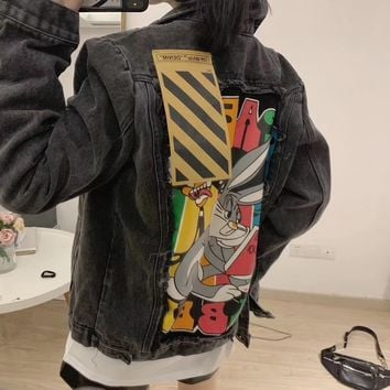 """Off-White"" Women Casual Bugs Bunny Distressed Cartoon Worn Lapel Letter Embroidery Long Sleeve Cardigan Denim Coat"