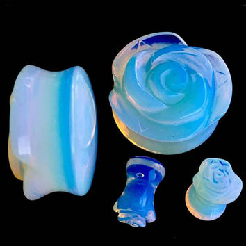 Ear Plugs Opalite Glass ear gauges Rose Shaped