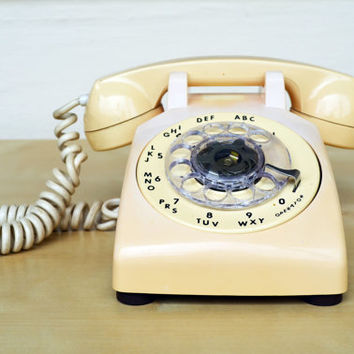 ITT Rotary Phone Biege White Color , Retro Working Home Telephone, Ring Phone, Tested Working Desk Phone ITT Home Telephone Ready To Use
