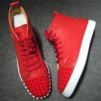 Christian Louboutin CL Lou Spikes Style #2206 Sneakers Fashion Shoes Best Deal Online