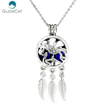 "K751 Silver Alloy Dream Catcher Lovely Unicorn Leaf Beads Cage Stainless Necklace 18""Aroma Essential Oil Diffuser Locket"