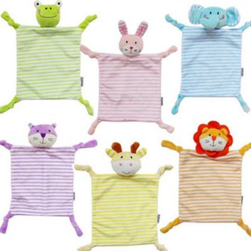 Kids Plush Towel Toy Cartoon Cat Rabbit Animal Newborn Stuffed Comfort Towel