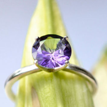 Amethyst Ring in Sterling Silver, Right-Hand Ring with Amethyst, February Birthstone