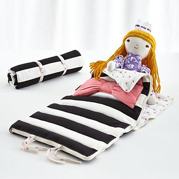 Doll Sized Bow Sleeping Bag in Pretend Play | The Land of Nod