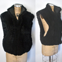 Black Fur Vest / genuine possum fur / 1980s