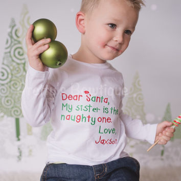 Christmas Shirt for Boy or Girl of Santa Letter Personalized with Name