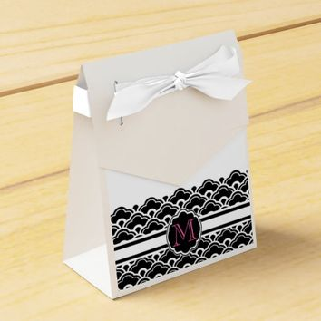 Black and White Fancy Scallops Monogrammed Favor Box