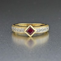 Vintage Diamond Ruby 14K Gold Half Eternity Ring