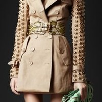 Burberry - STUDDED SLEEVE BONDED TWILL TRENCH COAT