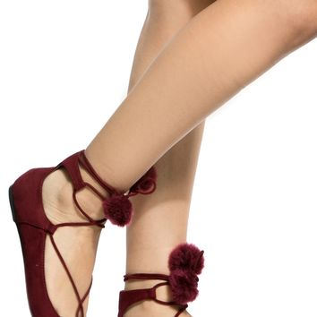 Burgundy Faux Suede Lace Up Pointed Toe Pom Pom Flats @ Cicihot Flats Shoes online store:Women's Casual Flats,Sexy Flats,Black Flats,White Flats,Women's Casual Shoes,Summer Shoes,Discount Flats,Cheap Flats,Spring Shoes