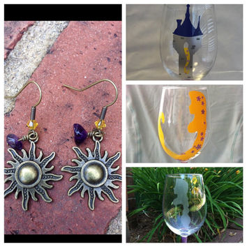 Gift Bundle Rapunzel Wine Glass and Earrings