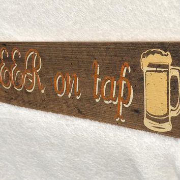 BEER ON TAP Wooden Sign Wall Hanging Home Decor Hand Painted in Orange White Tan, Bar Room, Man Cave, Gift for Him, Free Shipping!