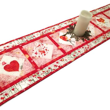 Valentines Day Table Runner Quilt, Pink and White Cherie Quilted Table Runner, Valentine Quilt, Quiltsy Handmade