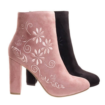 Bestow5 Blush Pink By Top Moda, Embossed Floral Embroidery Ankle Bootie w Block Heel,  Dress Boots