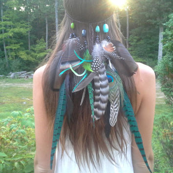 Jade Princess - Feather headband, native, american, style,  indian , tribal headband, bohemian headband, exotic Headband, Pheasant, peacock