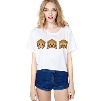 Factory Direct Selling Women New Fashion Top Emoji Monkeys Icon Smiley T-Shirt  SN9