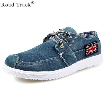 Fashion Men Casual Shoes Denim Canvas Shoes British Flag Lace Up Breathable Men Shoes Casual Zapata Hombre