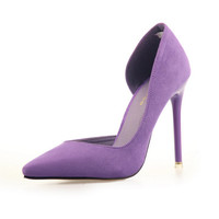 Lilac Pointed Toe Suede High heels 7 colors