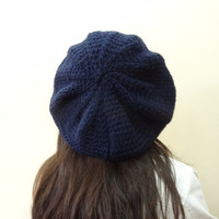 Navy Blue Hat Beanie,Knit Beanie, Hand Knitted Beanie, Gift for Her