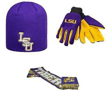 Licensed NCAA LSU Tigers Spirit Scarf Classic Beanie Hat And Grip Work Glove 3Pk 44342 KO_19_1