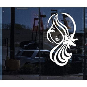 Window Sign for Business Vinyl Decal Sexy Girl Cute Eye Lips Hair Flowers Beauty Salon Decor Unique Gift (n938w)