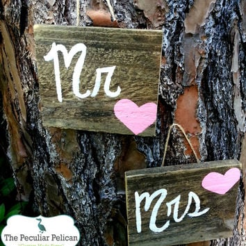 Mr. & Mrs. Signs - RUSTIC, REPURPOSED wooden signs for WEDDING - Wedding Photo Prop - Engagment Photo Prop