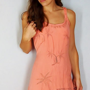 Tropical Coral Summer Dress, Palm Trees Beach House Hawaiian Sun Dress, SMALL MEDIUM, boho gypsy hippie dress