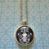 Hamsa Hand - Purple and Grey - glass dome necklace for tween or teen girl