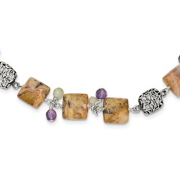 Sterling Silver 16 Inch Antiqued Amethyst/Green Agate/Jasper Necklace