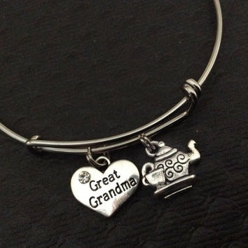 Great Grandma Charm Silver Bangle Silver Adjustable Wire Bangle Charm Bracelet Expandable Trendy