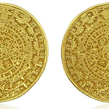 Aztec Calendar Drop Earrings