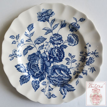 Blue & White Floral Toile Transferware Scalloped Plate English Country Roses