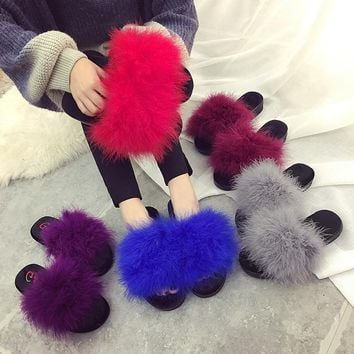 Size 35-42 Sweet Candy Color Summer Women Real Natural Feather Turkey Fur Fuzzy Slippe