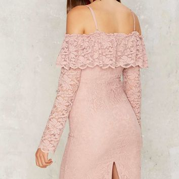Gimme More Cold Shoulder Lace Dress