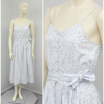 Vintage 80s Eileen West White Pastel Floral Midi Dress, Spaghetti Strap Pleated Dress, Full Skirt Tea Length Summer Dress Size XS S
