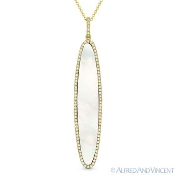 Mother-of-Pearl & 0.20ct Round Diamond 14k Yellow Gold Pendant & Chain Necklace
