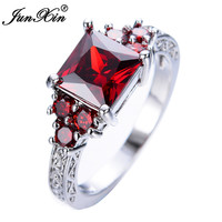 JUNXIN Fashion Shining Princess Red Rings Red Garnet White Gold Filled Jewelry Elegant Wedding Ring For Women Anel Aneis RW1307