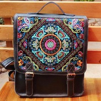 Leather Embroidered Backpack for Women
