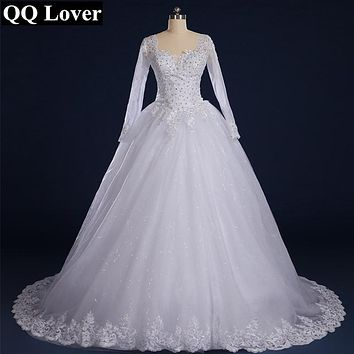 QQ Lover 2017 Luxury Vintage Long Sleeves Lace Wedding Dress Princess Casamento Romantic Vestido De Noiva With Real Pictures
