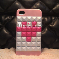 iPhone cases studded iphone case - Studded iPhone 4 Case - studded iphone 4s case Pink Personality iphone case best iphone case pink heart