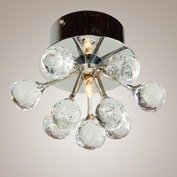 Modern Crystal Mini Semi Flush Mount Max 20W with 1 Light Chrome Finish
