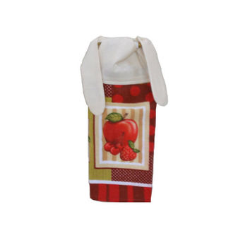 Strawberry Towel, Kitchen Hand Towel, Fruit Decor, Kitchen Accent, Apple Towel, Cherry Decor, Tea Towel, Dish Towel, Birthday Gift