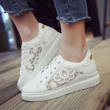 Lace Hollow Out Platform Lace Up Flat Casual Shoes Sneakers