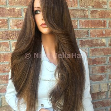 Deena Light Honey Human Hair Blend Multi Parting  Lace Front Wig 24""