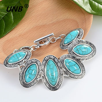 Bohemian Green Stone Charm Bracelets & Bangles for Women Men Jewelry Lovely Vintage Silver Pendant friendship pulseras bracelet
